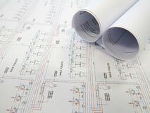 Pläne auf Tabelle Lizenzfreie Stockbilder