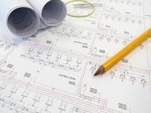 Pläne auf Tabelle Lizenzfreie Stockfotos