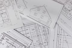 Pläne des Gebäudes /Planen Gebäudemodell und Entwurfswerkzeuge auf Bau Grundriss entwarf Gebäude auf der Zeichnung Technik und te lizenzfreie stockfotos