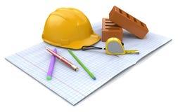 Pläne für Bau Stockbilder