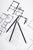 Pläne für Wohnebenen mit Bleistift Lizenzfreie Stockbilder