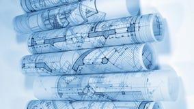 Pläne - Rollen von Architekturzeichnungen stock video footage