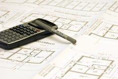 Pläne und Büroset Lizenzfreies Stockbild