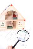 Pläne und Baumuster des Hauses Stockbilder