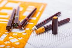Pläne und Entwurfswerkzeuge Lizenzfreies Stockfoto