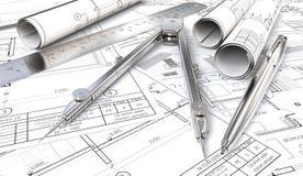 Pläne und Zeichnungen Rolls Stockbild