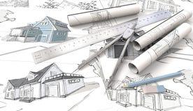 Pläne und Zeichnungen Rolls Lizenzfreie Stockfotografie