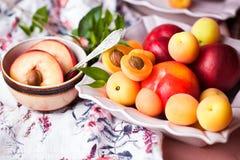 Plätera av frukt arkivfoton