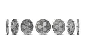Plätschern Sie die Münze, die von sieben Winkeln gezeigt wird, die auf weißem Hintergrund lokalisiert werden Einfach, bestimmten  lizenzfreie abbildung