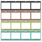 Plättchen des 35mm Filmes in den verschiedenen Farben Stockbild