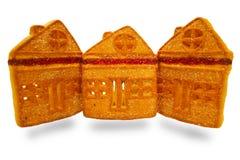 Plätzchen, ähnlich einem Haus, gemacht vom Mehl, mit Kaffee Stockfotos