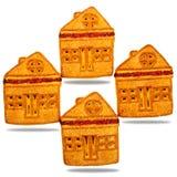 Plätzchen, ähnlich einem Haus, gemacht vom Mehl, Nachtisch Lizenzfreies Stockbild