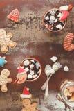 Plätzchen der heißen Schokolade und des Lebkuchens stockfotos