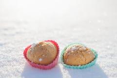 Plätzchen in Form der Herzen im Schnee Lizenzfreie Stockbilder