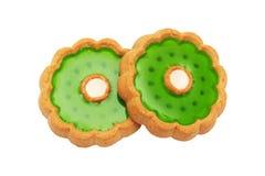 Plätzchen mit grünem Fruchtgelee Stockfotografie