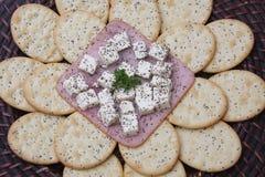Plätzchen mit Käse Stockfotografie