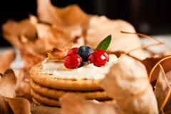 Plätzchen mit Sahne Käse und Blaubeeren Lizenzfreies Stockbild