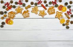 Plätzchen mit Zuckerglasur Weihnachtsneues Jahr-Karte Lizenzfreies Stockbild