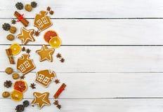 Plätzchen mit Zuckerglasur Weihnachtsneues Jahr-Karte Stockfotos