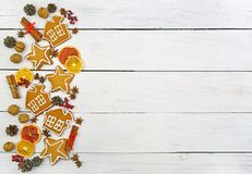 Plätzchen mit Zuckerglasur Weihnachtsneues Jahr-Karte Lizenzfreie Stockbilder