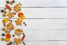 Plätzchen mit Zuckerglasur Weihnachtsneues Jahr-Karte Stockbilder