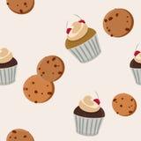 Plätzchen und nahtloses Muster des Vektors des kleinen Kuchens Lizenzfreies Stockbild
