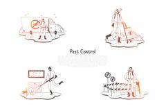 Plågakontroll - speciala arbetare i likformig med utrustning som tar kontroll over plågor på naturen och hemmastadd vektorbegrepp stock illustrationer