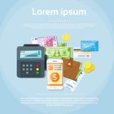 Plånbok för bilar för kreditering för pengar för telefon för betalningalternativuppsättning stock illustrationer