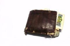 Plånbok för gammala pengar Royaltyfri Bild
