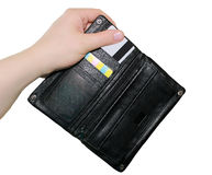 Plånbok i hand Royaltyfria Bilder