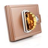 Plånbok med det guld- myntet Royaltyfri Bild