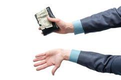 Plånbok med en dollar i händer royaltyfria foton