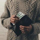 Plånbok med eurosedlar Royaltyfria Bilder