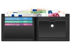 Plånbok med eurosedlar vektor illustrationer