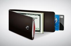 Plånbok med kassa och kreditkortar Fotografering för Bildbyråer