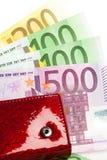 Plånbok med många euro Arkivbild