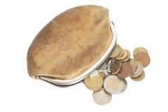 Plånbok med mynt för några euro som isoleras på vit Royaltyfria Foton
