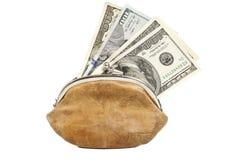 Plånbok med oss sedlar för pengar hundra Arkivbilder