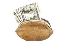 Plånbok med oss sedlar för pengar som hundra isoleras på vitbac Royaltyfria Bilder
