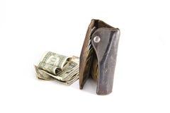 Plånbok med pengar Arkivbilder