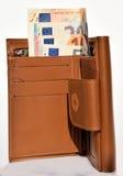 Plånbok med pengar Arkivbild