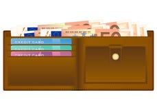Plånbok med sedeln för euro femtio stock illustrationer