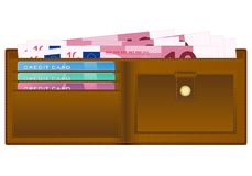 Plånbok med sedeln för euro tio royaltyfri illustrationer