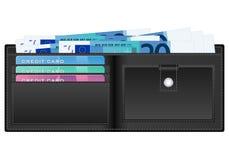 Plånbok med sedeln för euro tjugo stock illustrationer