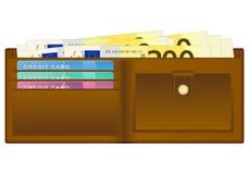 Plånbok med sedeln för euro tvåhundra stock illustrationer