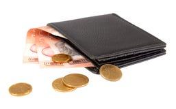 Plånbok med serbiska pengar Royaltyfria Foton