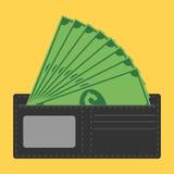 Plånbok mycket av pengar royaltyfri illustrationer