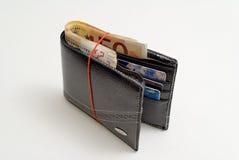 Plånbok mycket med 50 euro och kort Royaltyfri Bild