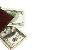 Plånbok- och amerikanpengar Arkivfoto