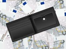 Plånbok på bakgrund för euro fem royaltyfri illustrationer